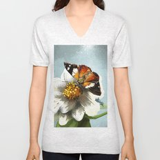 Butterfly on flower 12 Unisex V-Neck