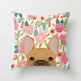 French Bulldog florals portrait dog breed custom pet portraits by pet friendly frenchie Throw Pillow
