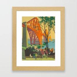 Mid Century Colorful Travel Posters Forth Bridge British Railways Framed Art Print
