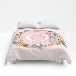 Flower Wreath with Personalized Monogram Initial Letter O on Pink Watercolor Paper Texture Artwork Comforters