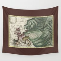 europe Wall Tapestries featuring Dutch Print of Europe by anipani