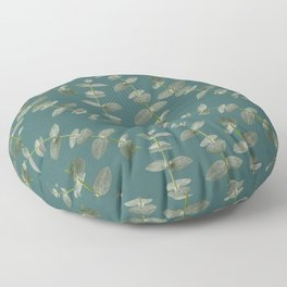 Eucalyptus Patterns with Aqua Background Realistic Botanic Patterns Organic Design with Real Plants Floor Pillow