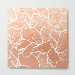 Modern copper tan terracotta glitter ombre color block white floral pattern illustration Metal Print