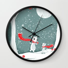 Winter Foxes – Christmas in the Forest Wall Clock