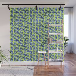 Green and Blue Squiggle Pattern Wall Mural