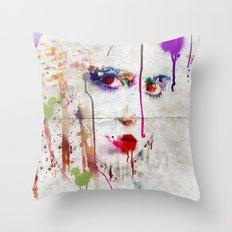 Drip face Throw Pillow