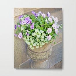 Purple Flowers in Urn Metal Print