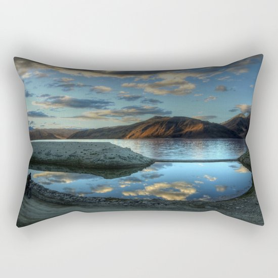 Rider at Pangong... Rectangular Pillow