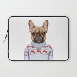 Animals as a human. French Bulldog in down vest and sweater. Laptop Sleeve