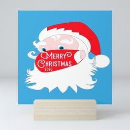 Santa Claus Wearing Face Mask Merry Christmas 2020 Mini Art Print