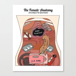 Female Anatomy Chart (According to Our Government) Canvas Print