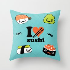 I love Sushi Throw Pillow