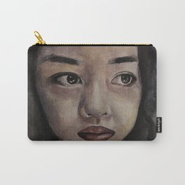 Art, watercolor portrait asian girl Carry-All Pouch