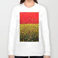 gold glitter Long Sleeve T-shirts featuring Sparkle Glitter Red Gold by Saundra Myles