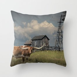 Longhorn Steer in a Prairie pasture by 1880 Town with Windmill and Old Gray Wooden Barn Throw Pillow
