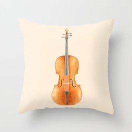 Cello - Watercolors Throw Pillow