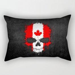 Flag of Canada on a Chaotic Splatter Skull Rectangular Pillow