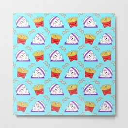 Cute sweet adorable Kawaii fitness bunnies exercising on a yoga mat, yummy happy funny French fries light pastel baby blue pattern design. Workout and comfort food. Metal Print