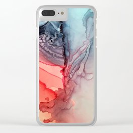 Undertow Meets Lava- Alcohol Ink Painting Clear iPhone Case