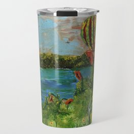 Airballoons over lake Travel Mug