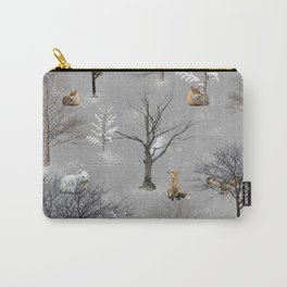 Owls and Foxes in Snowy Trees Carry-All Pouch