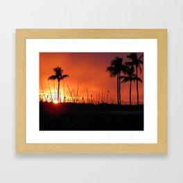 Beach Art, Sunset Art, Orange and Black Art Framed Art Print