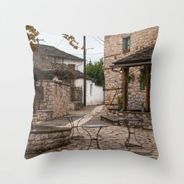 Quiet village square Throw Pillow