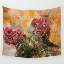 Pink Cactus Flowers Wall Tapestry