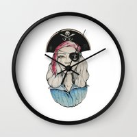 pirate Wall Clocks featuring Pirate by Bruno Gonçales
