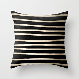 Simply Drawn Stripes White Gold Sands on Midnight Black Throw Pillow