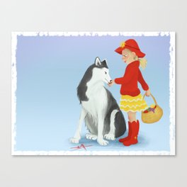 Little red and the Wolf Canvas Print