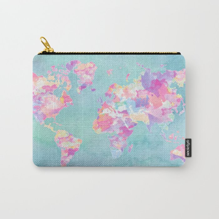 Watercolor Earth (World Travel Wanderlust) Carry-All Pouch