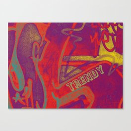 Cool TRENDY script graffiti style print in bold mauve purple, orange tangerine, yellow, teal and red Canvas Print