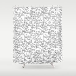 Funny sketchy white kitty cats Shower Curtain