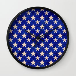 Gold stars on a dark blue background. Wall Clock