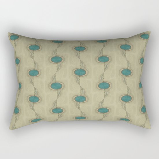 Teal Turquoise Circles Pattern Modern Abstract Rectangular Pillow