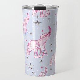 Cute Pastel Tone Elephants Stars Pattern Travel Mug