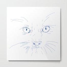 cat's eyes, drawing blue Metal Print