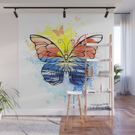 Butterfly with Painted Sea Wall Mural