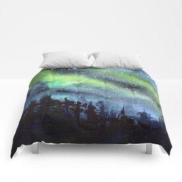 Galaxy Nebula Watercolor Northern Lights Aurora Borealis Comforters