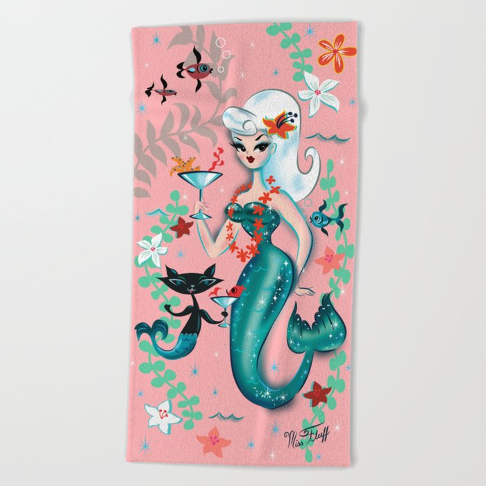 Martini Mermaid Platinum Blonde Beach Towel