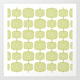 Mid Century Modern Atomic Rings Pattern Chartreuse 3 Art Print