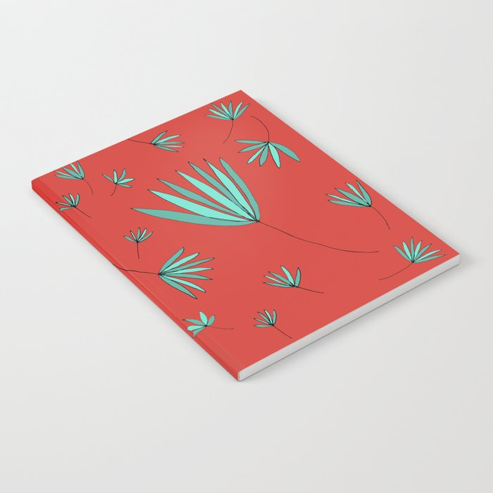 Teal and Red Botanical Nature Drawing by Emma Freeman Designs Notebook