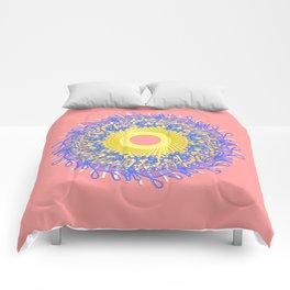Mandala #105, Peach and Sunshine Comforters