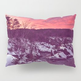 Great Falls Winter Twilight - Violet Velvet Fantasy Pillow Sham