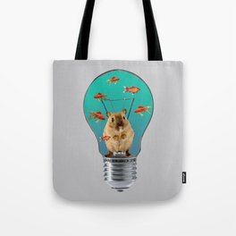 Bulb with Mouse and goldfishes Tote Bag