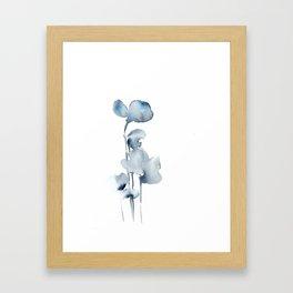 Blue grey florals Framed Art Print