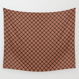 Black Scroll Grid Pattern on Sherwin Williams Cavern Clay SW7701 Wall Tapestry
