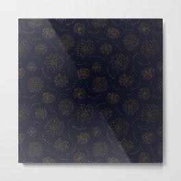 Elegant blush chic navy blue faux gold glitter floral Metal Print