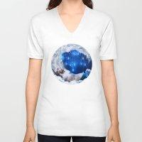 lunar V-neck T-shirts featuring Lunar Incantation by Diogo Verissimo